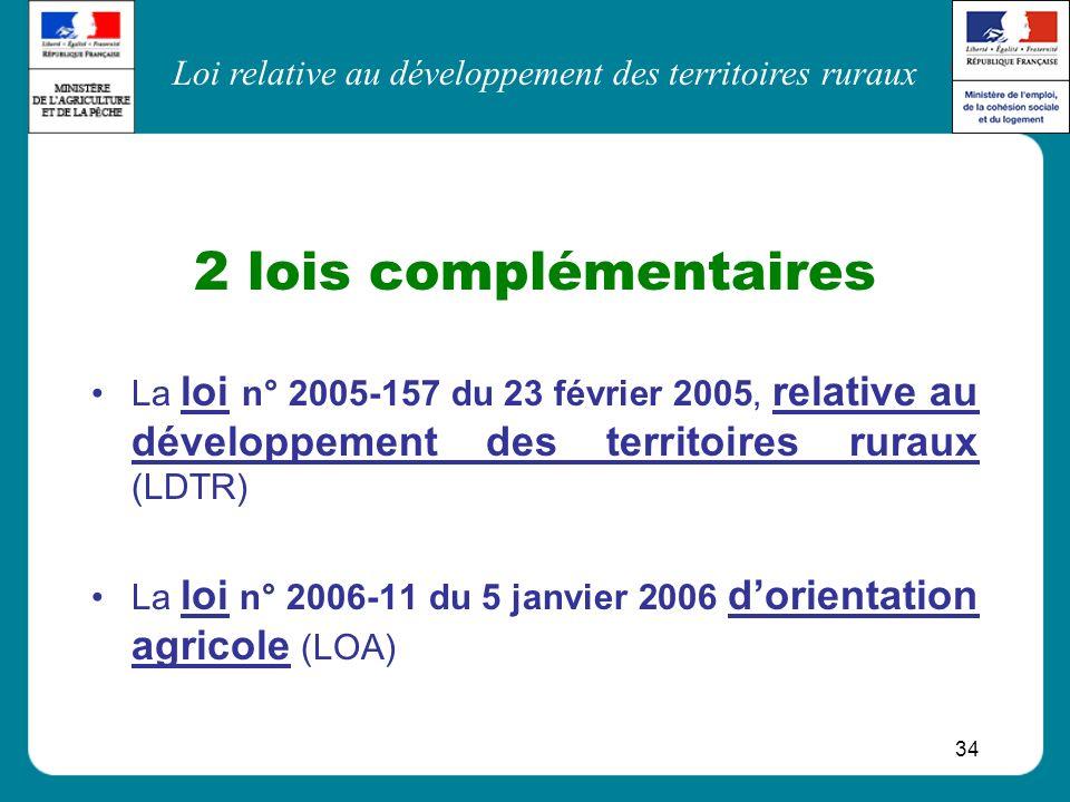 Loi relative au développement des territoires ruraux 34 2 lois complémentaires La loi n° 2005-157 du 23 février 2005, relative au développement des te