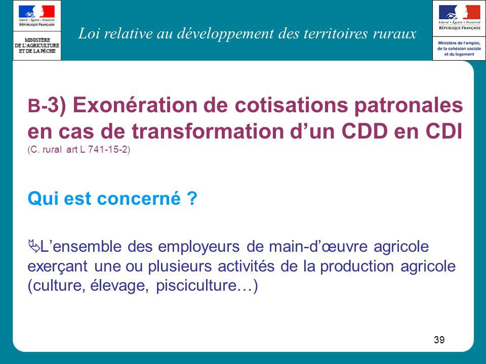 Loi relative au développement des territoires ruraux 39 B- 3) Exonération de cotisations patronales en cas de transformation dun CDD en CDI (C. rural
