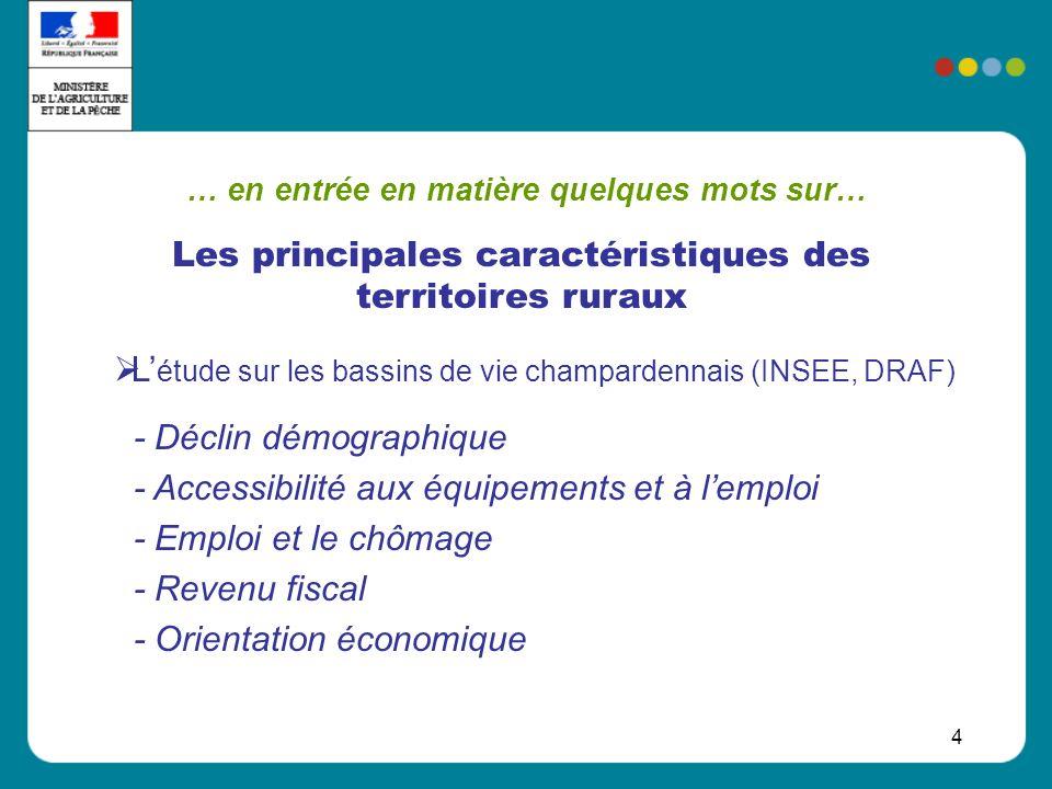 4 … en entrée en matière quelques mots sur… L étude sur les bassins de vie champardennais (INSEE, DRAF) - Déclin démographique - Accessibilité aux équ
