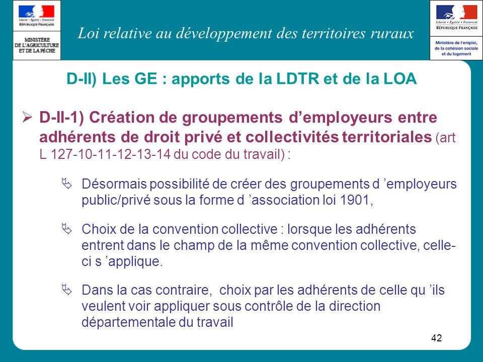 Loi relative au développement des territoires ruraux 42 D-II-1) Création de groupements demployeurs entre adhérents de droit privé et collectivités te
