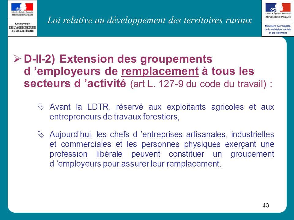Loi relative au développement des territoires ruraux 43 D-II-2) Extension des groupements d employeurs de remplacement à tous les secteurs d activité