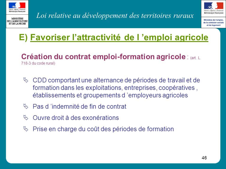 Loi relative au développement des territoires ruraux 46 E) Favoriser lattractivité de l emploi agricole CDD comportant une alternance de périodes de t