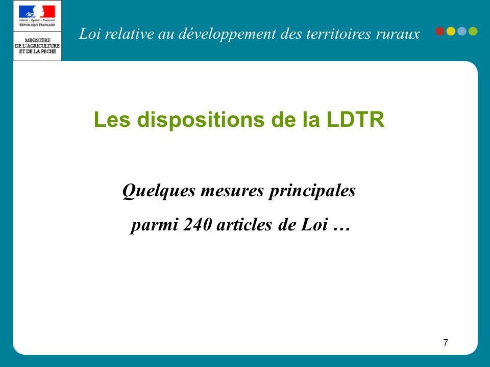 Loi relative au développement des territoires ruraux 7 Les dispositions de la LDTR Quelques mesures principales parmi 240 articles de Loi …