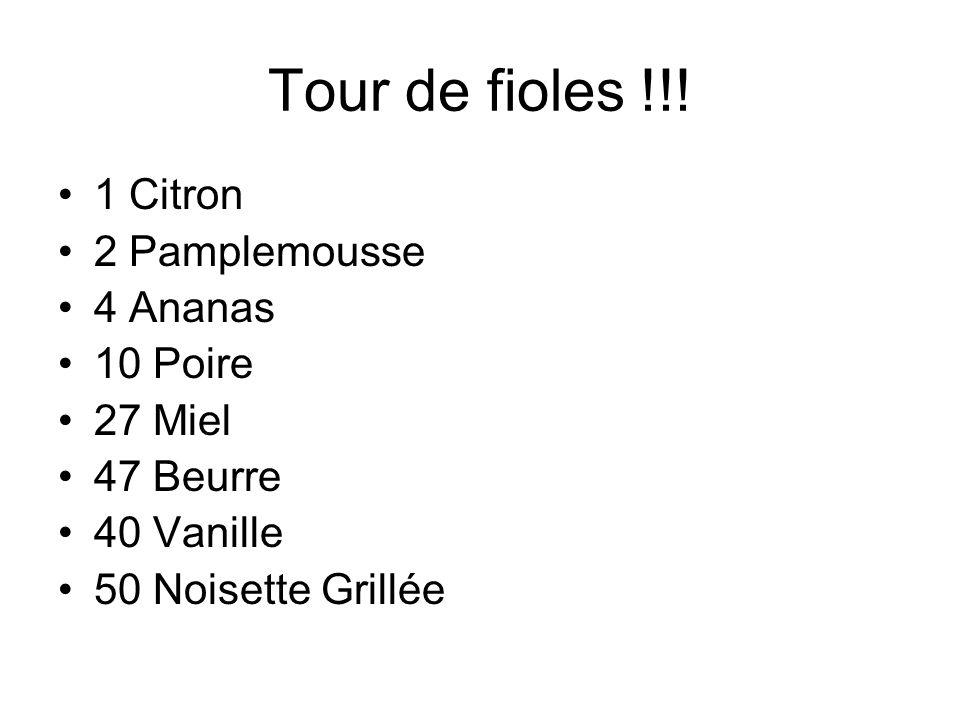 Tour de fioles !!! 1 Citron 2 Pamplemousse 4 Ananas 10 Poire 27 Miel 47 Beurre 40 Vanille 50 Noisette Grillée
