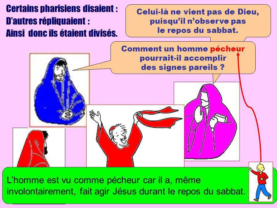 Certains pharisiens disaient : Dautres répliquaient : Ainsi donc ils étaient divisés. Celui-là ne vient pas de Dieu, puisquil nobserve pas le repos du