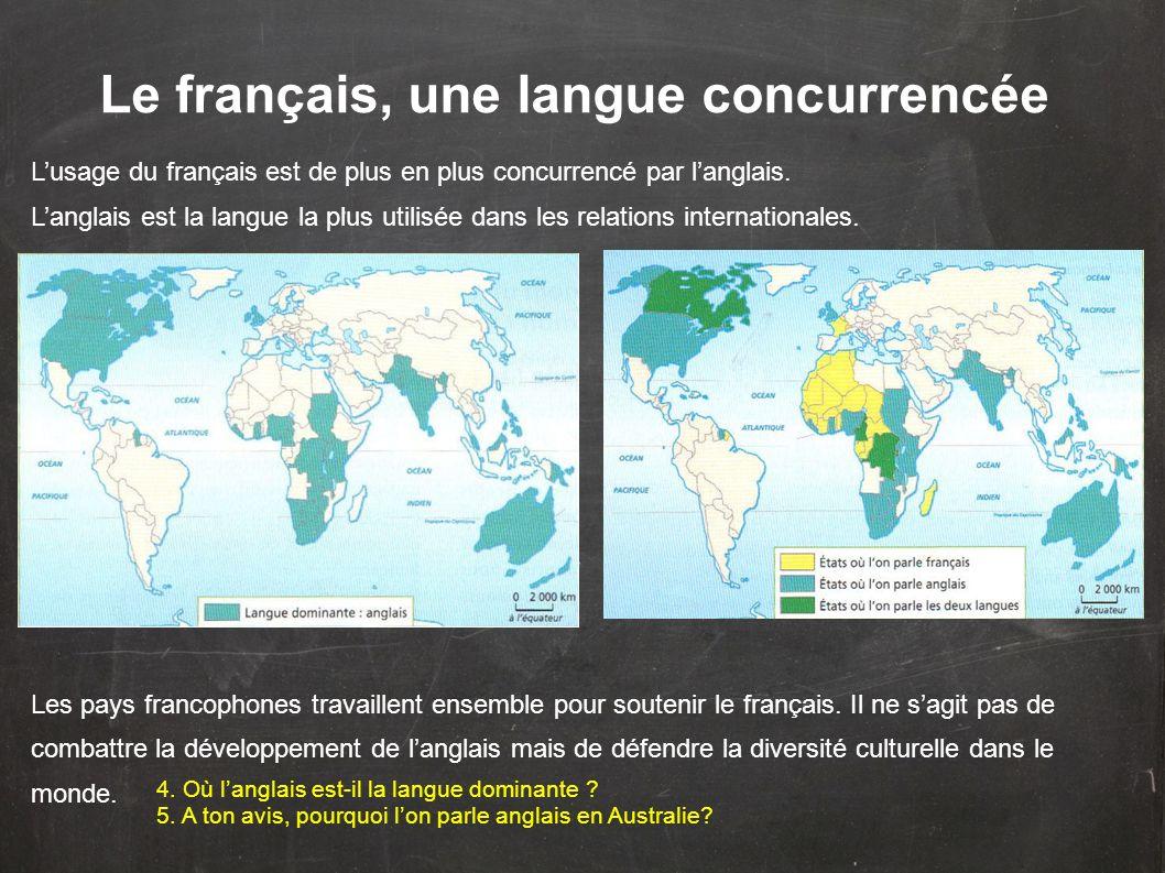 Le français, une langue concurrencée Lusage du français est de plus en plus concurrencé par langlais. Langlais est la langue la plus utilisée dans les