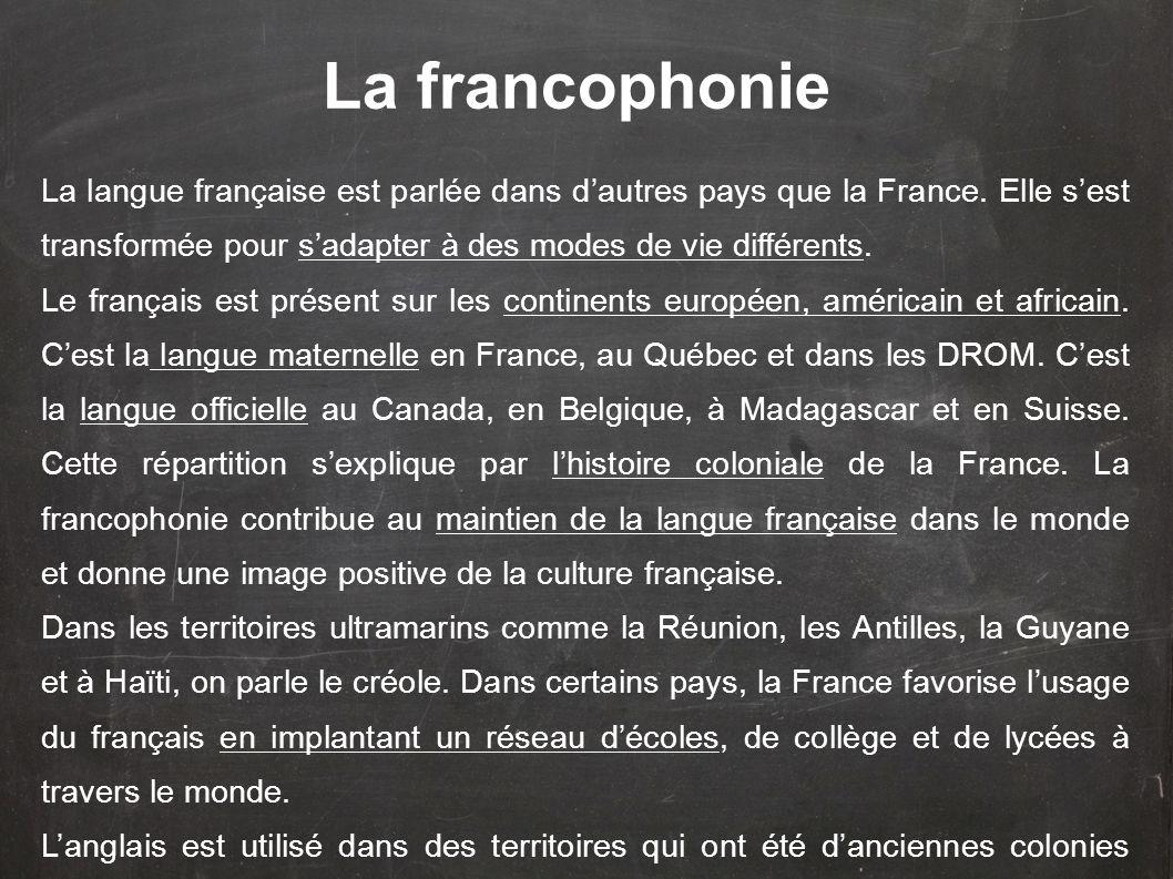La langue française est parlée dans dautres pays que la France. Elle sest transformée pour sadapter à des modes de vie différents. Le français est pré