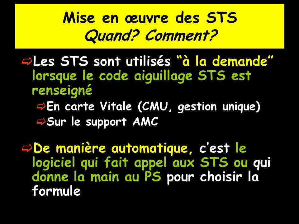 Mise en œuvre des STS Quand? Comment? Les STS sont utilisés à la demande lorsque le code aiguillage STS est renseigné En carte Vitale (CMU, gestion un