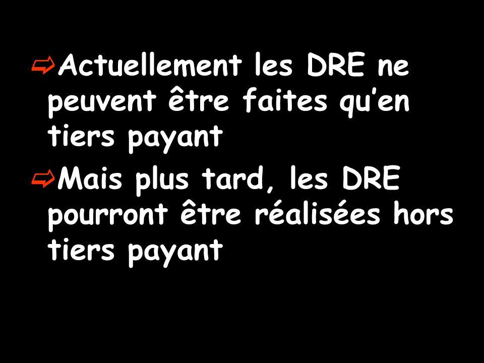 Actuellement les DRE ne peuvent être faites quen tiers payant Mais plus tard, les DRE pourront être réalisées hors tiers payant