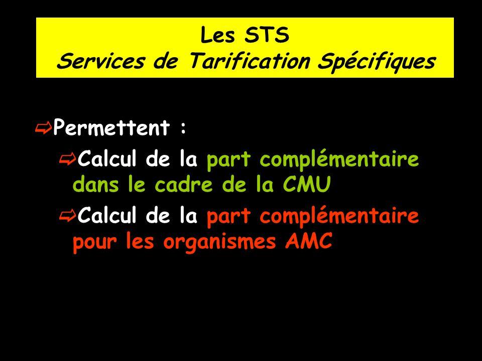 Les STS Services de Tarification Spécifiques Permettent : Calcul de la part complémentaire dans le cadre de la CMU Calcul de la part complémentaire po