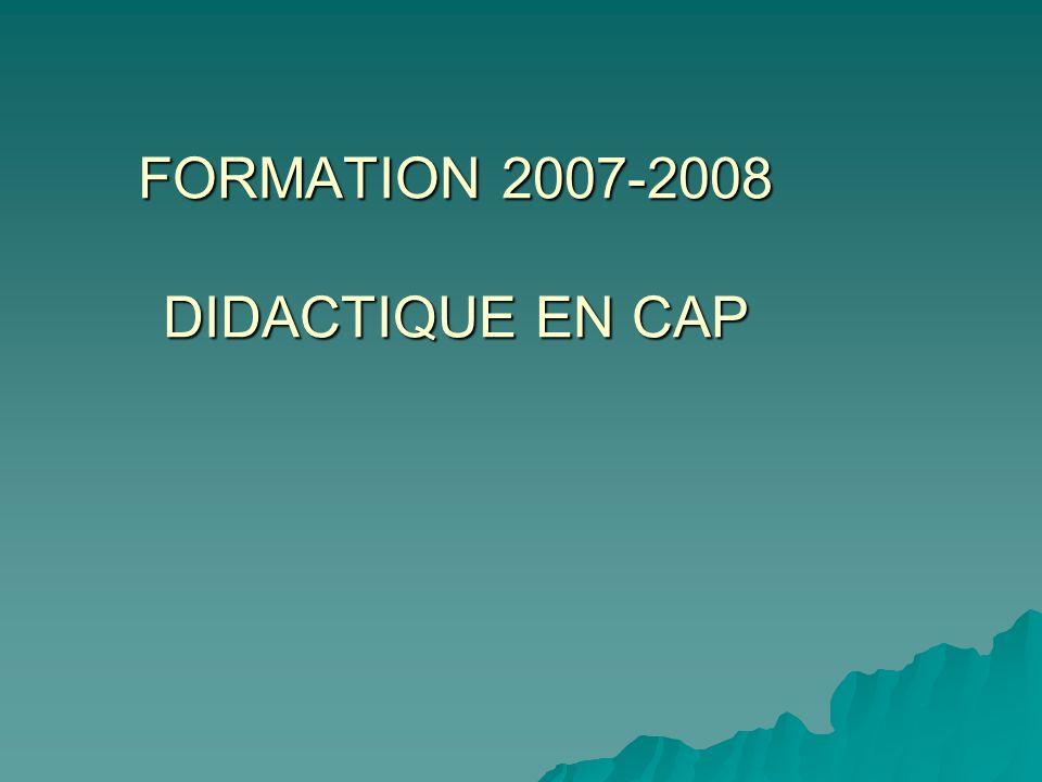 FORMATION 2007-2008 DIDACTIQUE EN CAP FORMATION 2007-2008 DIDACTIQUE EN CAP