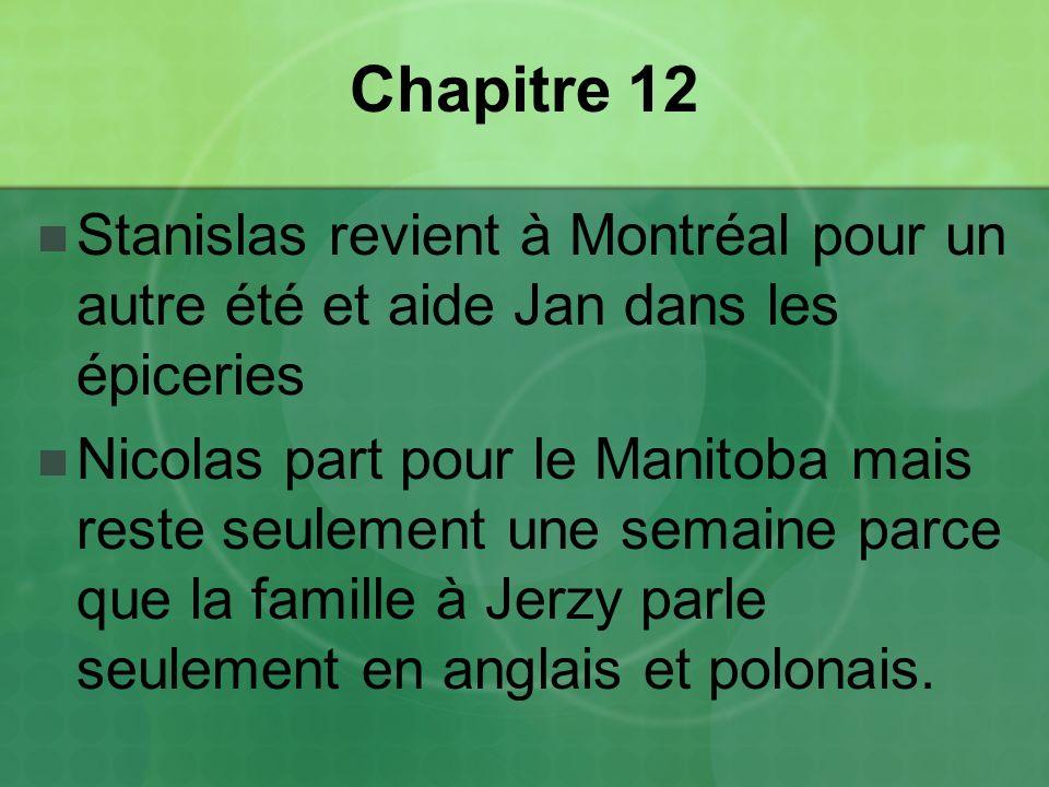 Chapitre 12 Stanislas revient à Montréal pour un autre été et aide Jan dans les épiceries Nicolas part pour le Manitoba mais reste seulement une semaine parce que la famille à Jerzy parle seulement en anglais et polonais.