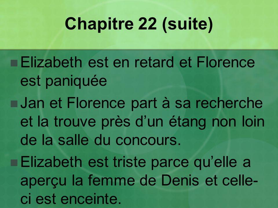Chapitre 22 (suite) Elizabeth est en retard et Florence est paniquée Jan et Florence part à sa recherche et la trouve près dun étang non loin de la salle du concours.