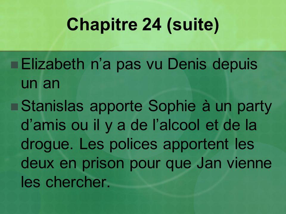 Chapitre 24 (suite) Elizabeth na pas vu Denis depuis un an Stanislas apporte Sophie à un party damis ou il y a de lalcool et de la drogue.