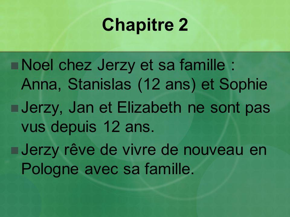 Chapitre 2 Noel chez Jerzy et sa famille : Anna, Stanislas (12 ans) et Sophie Jerzy, Jan et Elizabeth ne sont pas vus depuis 12 ans.