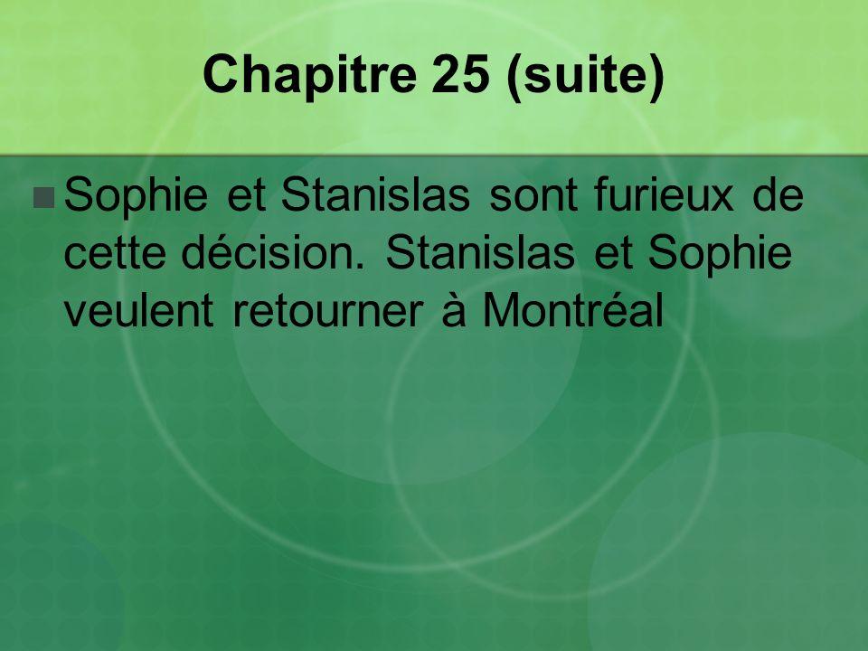 Chapitre 25 (suite) Sophie et Stanislas sont furieux de cette décision.
