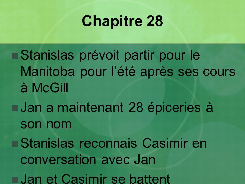 Chapitre 28 Stanislas prévoit partir pour le Manitoba pour lété après ses cours à McGill Jan a maintenant 28 épiceries à son nom Stanislas reconnais Casimir en conversation avec Jan Jan et Casimir se battent