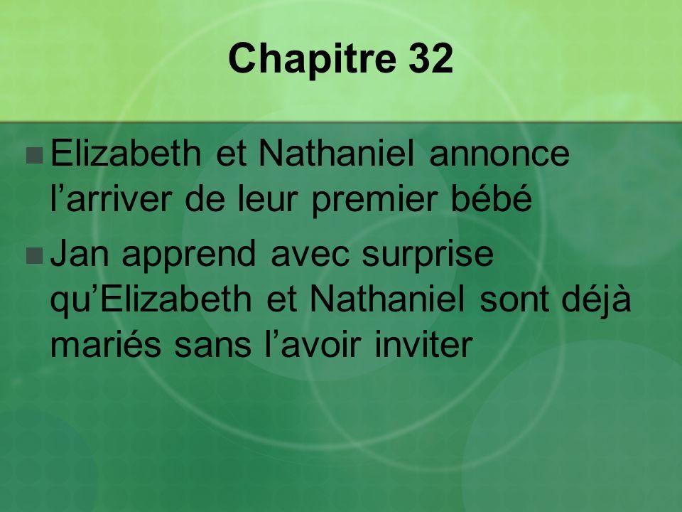 Chapitre 32 Elizabeth et Nathaniel annonce larriver de leur premier bébé Jan apprend avec surprise quElizabeth et Nathaniel sont déjà mariés sans lavoir inviter