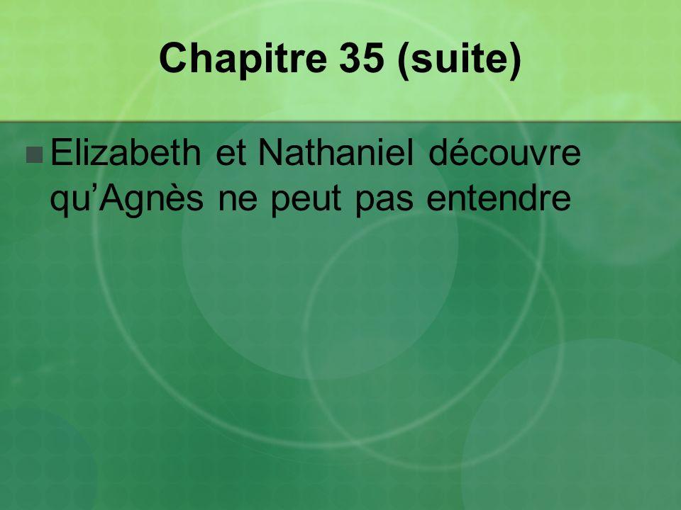 Chapitre 35 (suite) Elizabeth et Nathaniel découvre quAgnès ne peut pas entendre