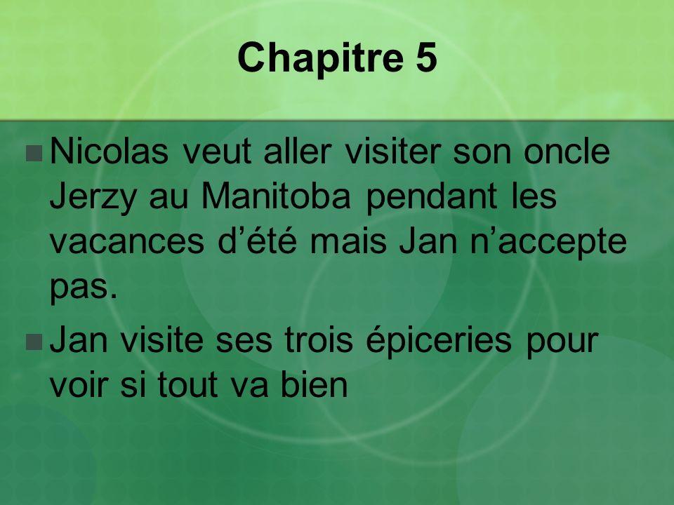 Chapitre 5 Nicolas veut aller visiter son oncle Jerzy au Manitoba pendant les vacances dété mais Jan naccepte pas.