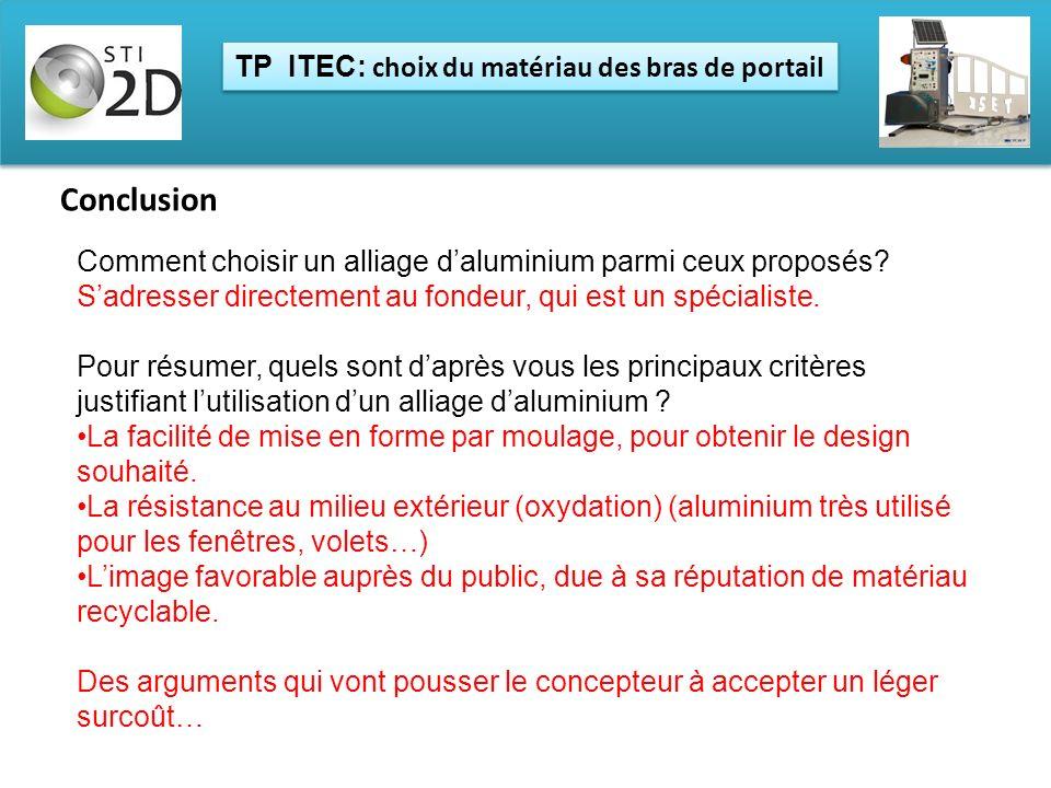 TP ITEC: choix du matériau des bras de portail Conclusion Comment choisir un alliage daluminium parmi ceux proposés? Sadresser directement au fondeur,