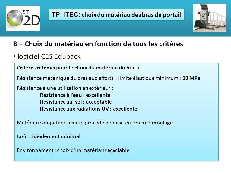 TP ITEC: choix du matériau des bras de portail B – Choix du matériau en fonction de tous les critères logiciel CES Edupack Critères retenus pour le ch