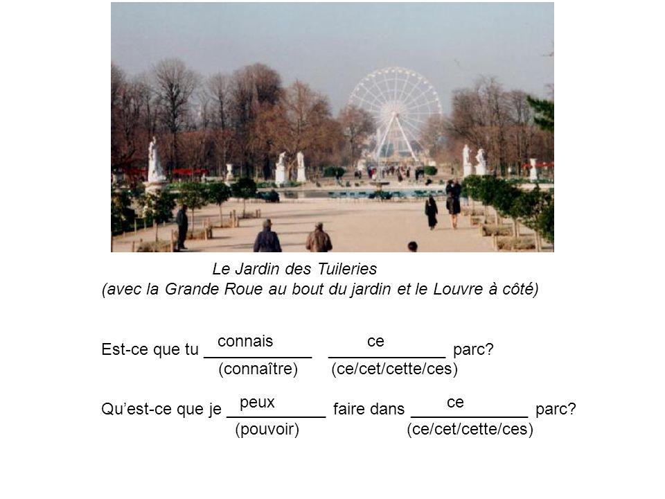 Le Jardin des Tuileries (avec la Grande Roue au bout du jardin et le Louvre à côté) Est-ce que tu ____________ _____________ parc? (connaître) (ce/cet