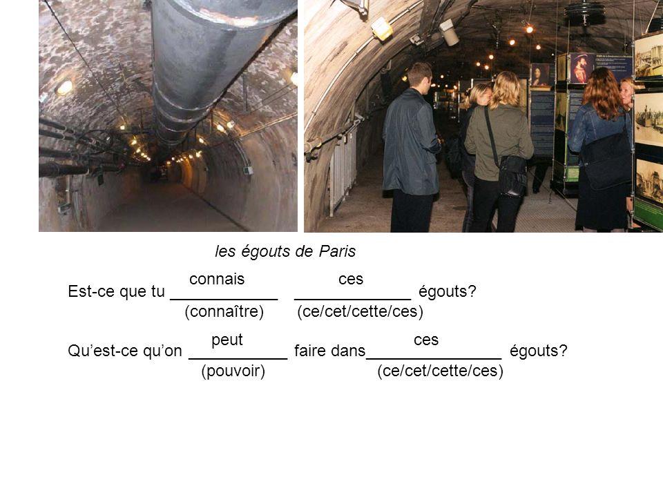 les égouts de Paris Est-ce que tu ____________ _____________ égouts? (connaître) (ce/cet/cette/ces) Quest-ce quon ___________ faire dans______________