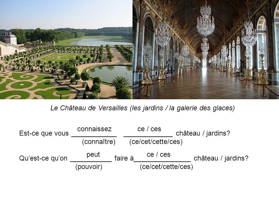 Le Château de Versailles (les jardins / la galerie des glaces) Est-ce que vous ____________ _____________ château / jardins? (connaître) (ce/cet/cette