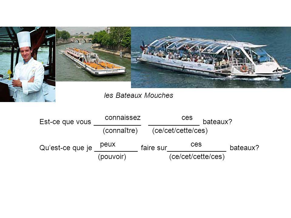 les Bateaux Mouches Est-ce que vous ____________ _____________ bateaux? (connaître) (ce/cet/cette/ces) Quest-ce que je ___________ faire sur__________