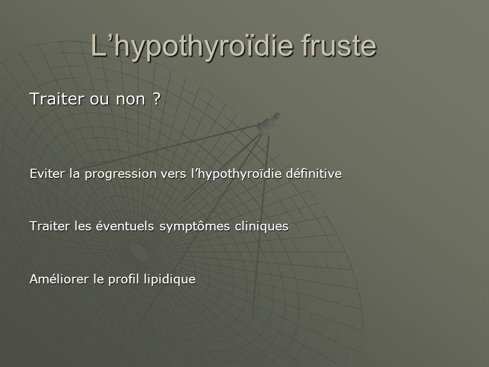Lhypothyroïdie fruste Traiter ou non ? Eviter la progression vers lhypothyroïdie définitive Traiter les éventuels symptômes cliniques Améliorer le pro