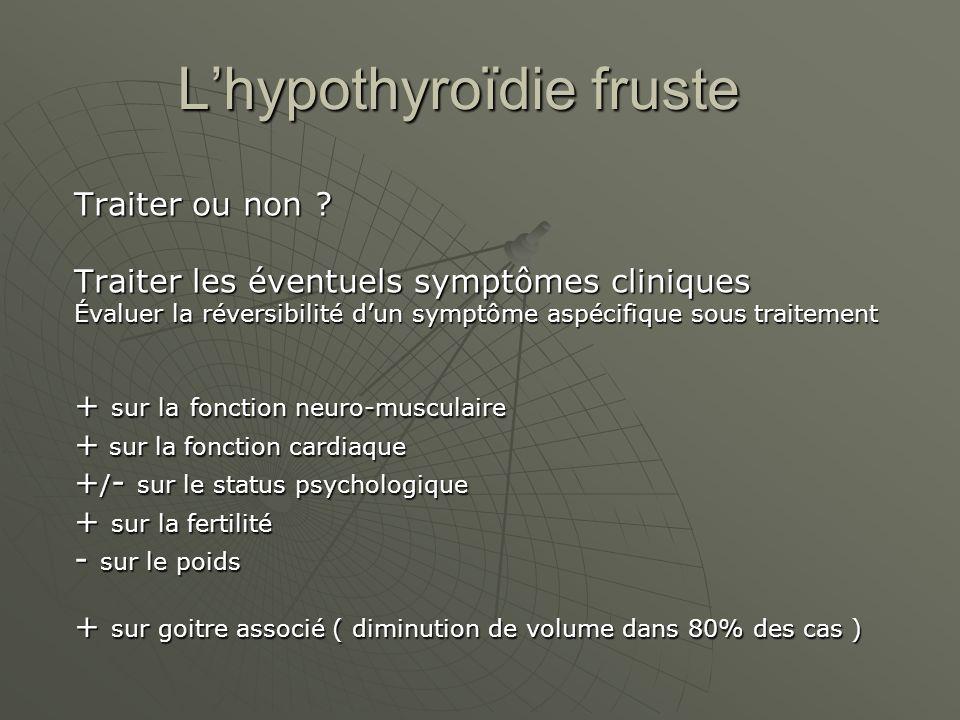 Lhypothyroïdie fruste Traiter ou non ? Traiter les éventuels symptômes cliniques Évaluer la réversibilité dun symptôme aspécifique sous traitement + s