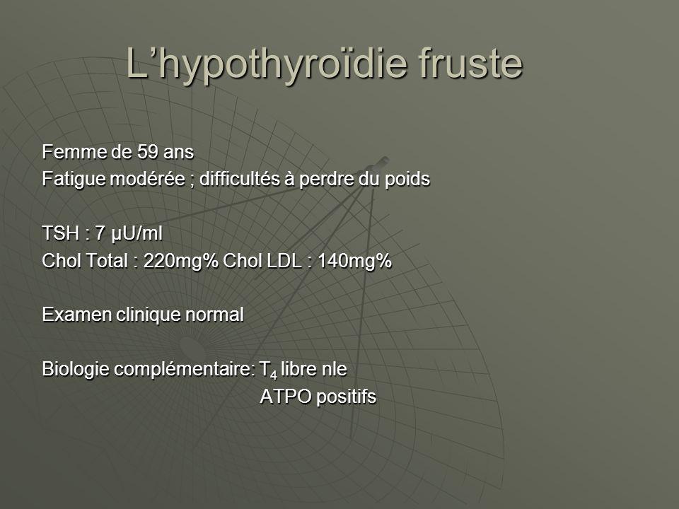 Lhypothyroïdie fruste Femme de 59 ans Fatigue modérée ; difficultés à perdre du poids TSH : 7 µU/ml Chol Total : 220mg% Chol LDL : 140mg% Examen clinique normal Biologie complémentaire: T 4 libre nle ATPO positifs ATPO positifs