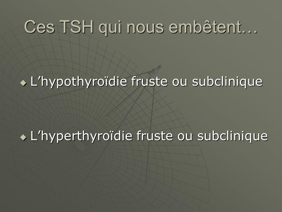 Ces TSH qui nous embêtent… Lhypothyroïdie fruste ou subclinique Lhypothyroïdie fruste ou subclinique Lhyperthyroïdie fruste ou subclinique Lhyperthyro