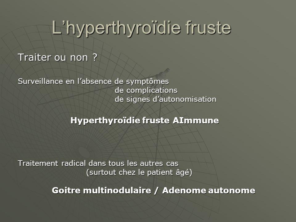 Lhyperthyroïdie fruste Traiter ou non ? Surveillance en labsence de symptômes de complications de complications de signes dautonomisation de signes da