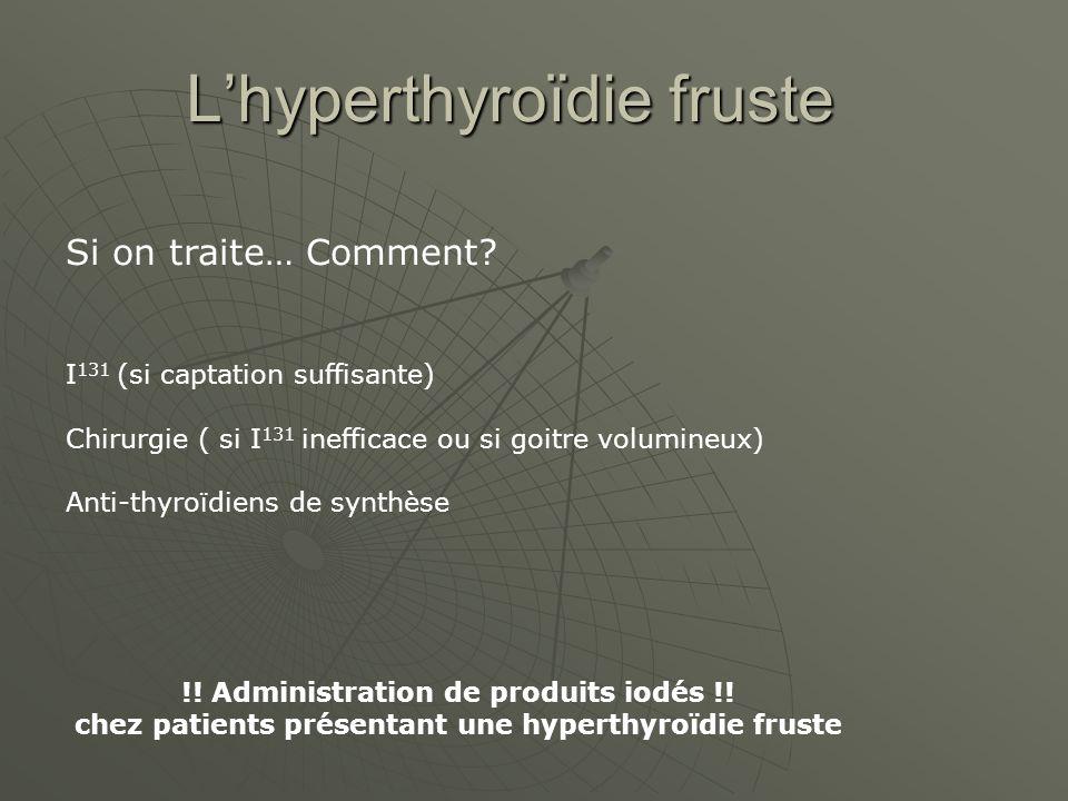 Lhyperthyroïdie fruste Si on traite… Comment.