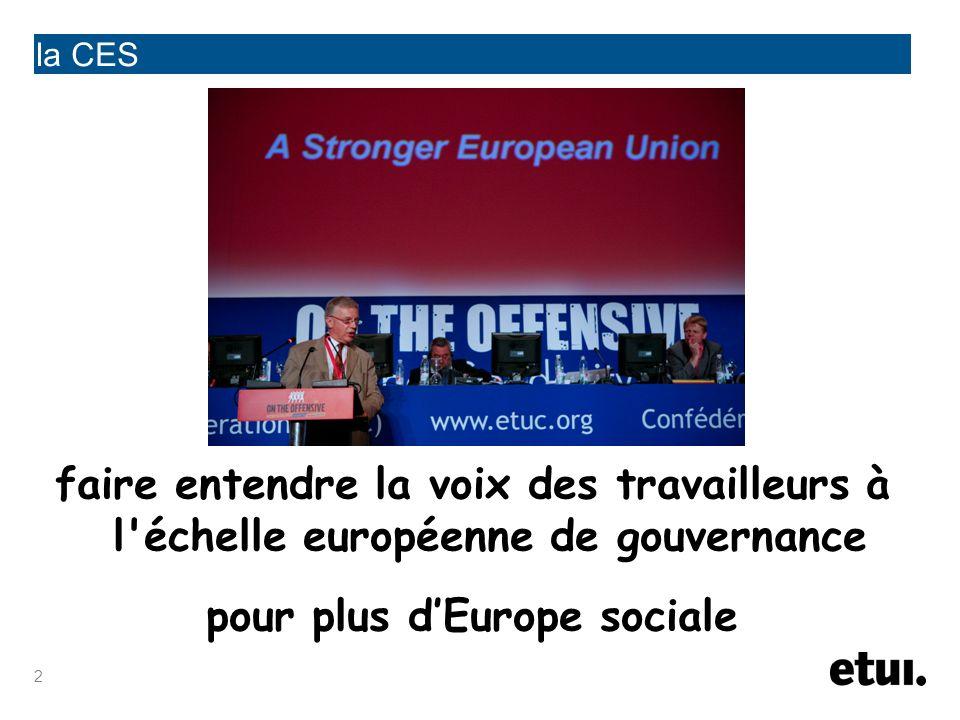 3 la CES 82 confédérations nationales 12 fédérations syndicales européennes 36 pays > 60 millions de travailleurs 44 conseils syndicaux interrégionaux
