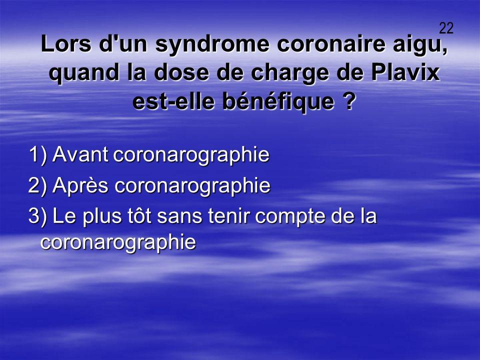 Lors d'un syndrome coronaire aigu, quand la dose de charge de Plavix est-elle bénéfique ? 1) Avant coronarographie 1) Avant coronarographie 2) Après c