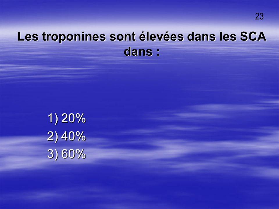 Les troponines sont élevées dans les SCA dans : 1) 20% 1) 20% 2) 40% 2) 40% 3) 60% 3) 60% 23