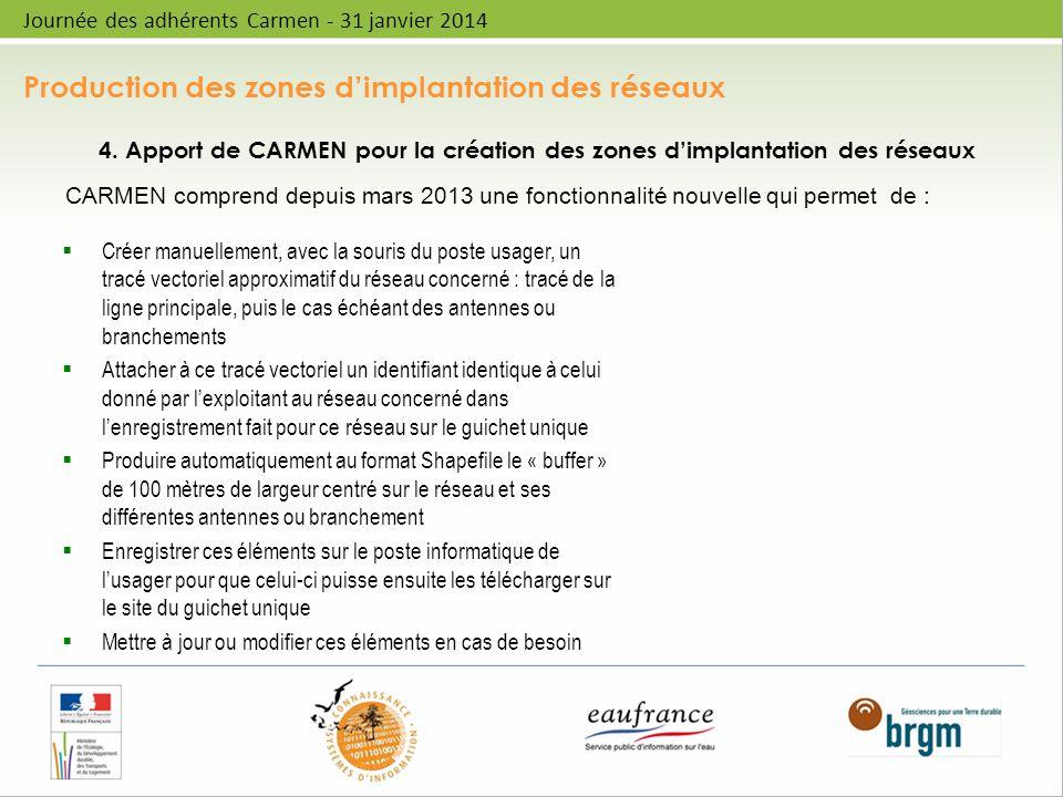 Production des zones dimplantation des réseaux Journée des adhérents Carmen - 31 janvier 2014 4. Apport de CARMEN pour la création des zones dimplanta