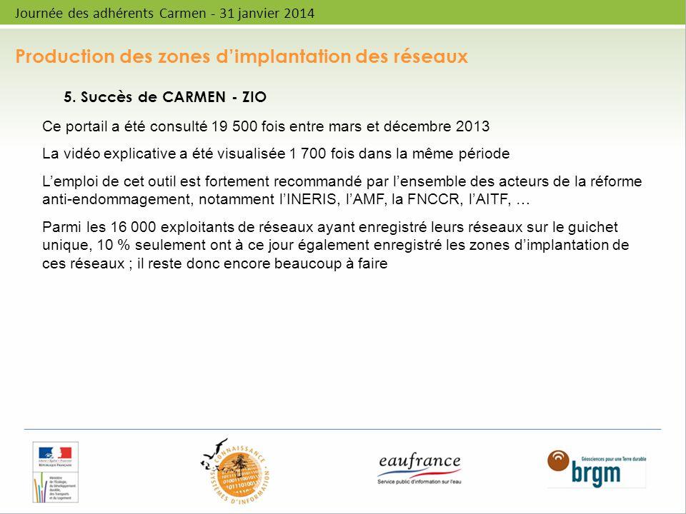Production des zones dimplantation des réseaux Journée des adhérents Carmen - 31 janvier 2014 5. Succès de CARMEN - ZIO Ce portail a été consulté 19 5