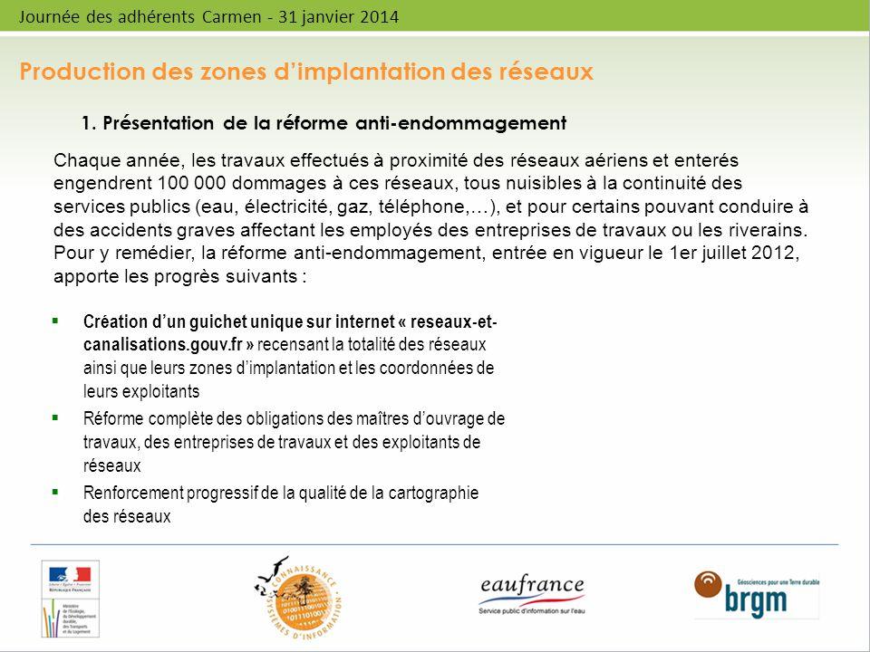 Production des zones dimplantation des réseaux Journée des adhérents Carmen - 31 janvier 2014 1. Présentation de la réforme anti-endommagement Créatio