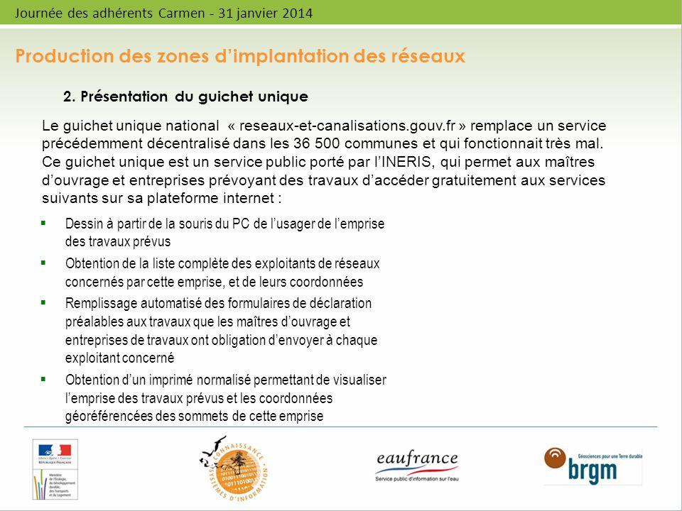 Production des zones dimplantation des réseaux Journée des adhérents Carmen - 31 janvier 2014 2. Présentation du guichet unique Dessin à partir de la