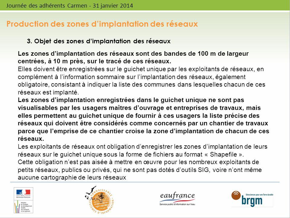 Production des zones dimplantation des réseaux Journée des adhérents Carmen - 31 janvier 2014 3. Objet des zones dimplantation des réseaux Les zones d