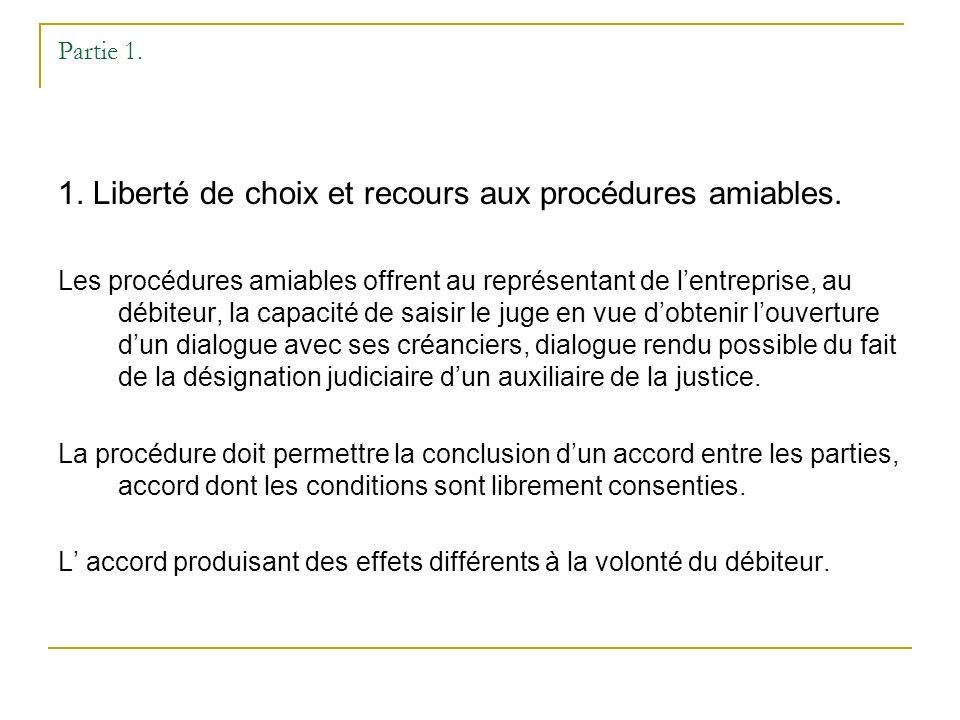 Partie 1. 1. Liberté de choix et recours aux procédures amiables.