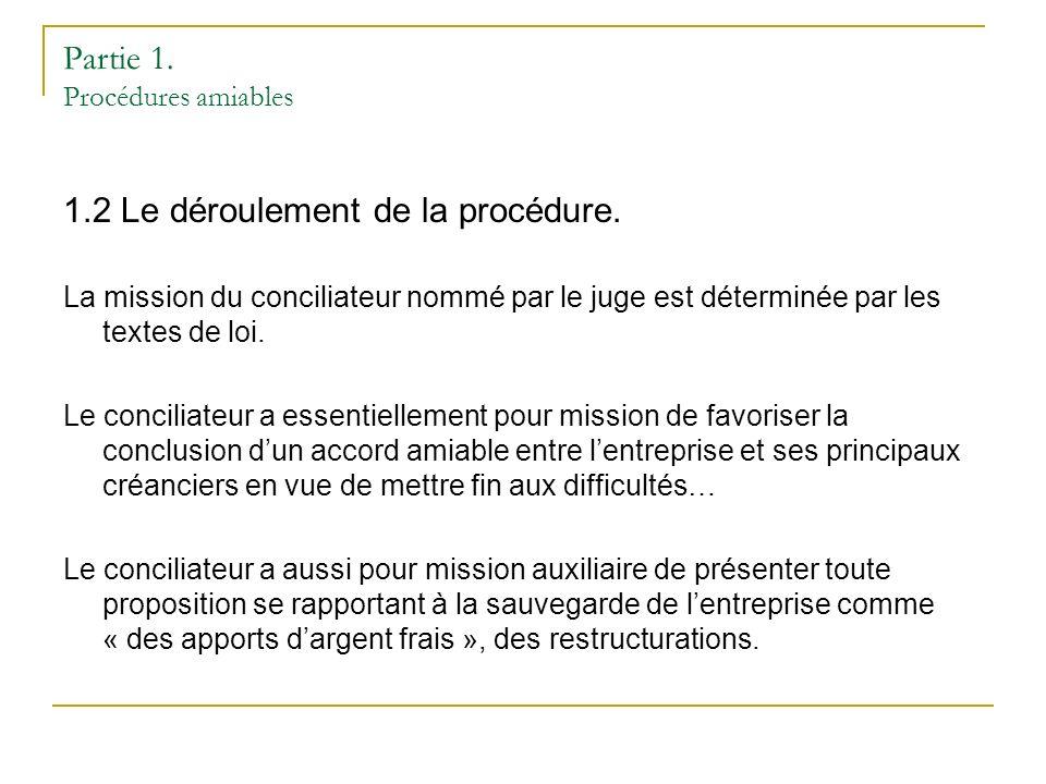 Partie 1. Procédures amiables 1.2 Le déroulement de la procédure.