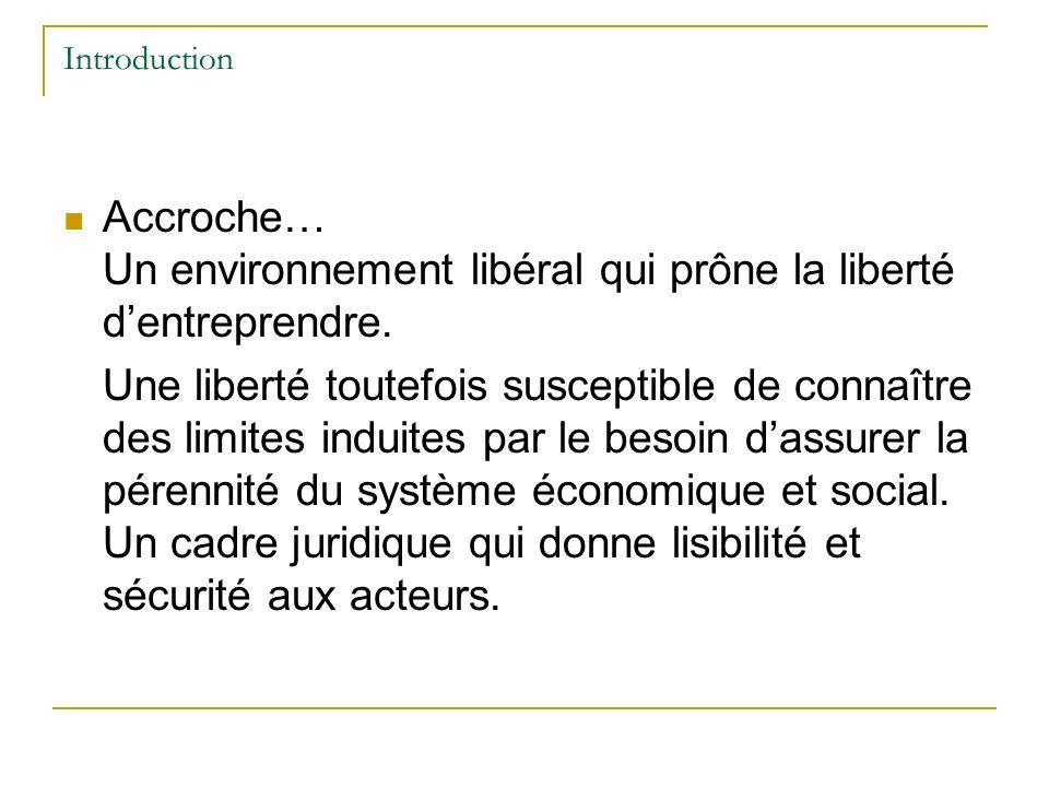 Introduction Accroche… Un environnement libéral qui prône la liberté dentreprendre.