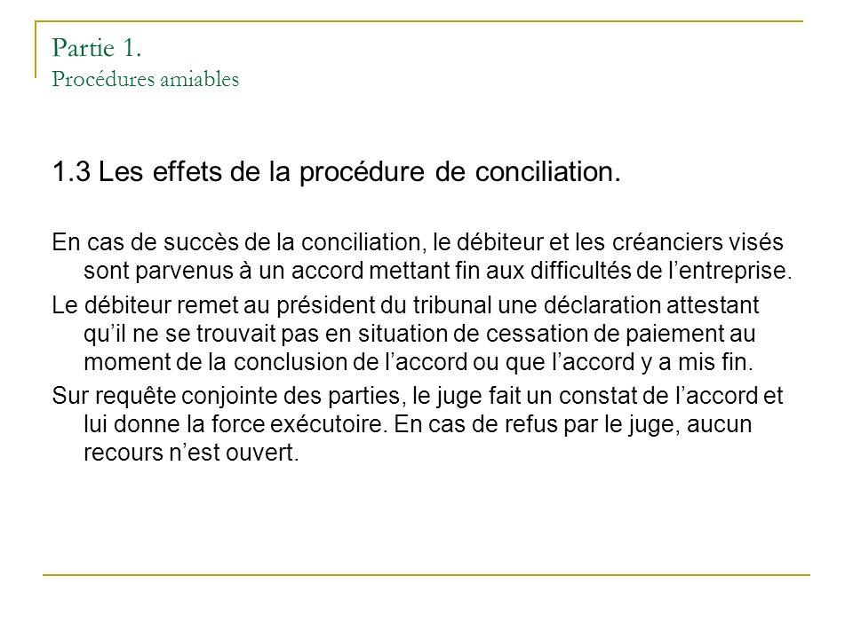 Partie 1. Procédures amiables 1.3 Les effets de la procédure de conciliation.
