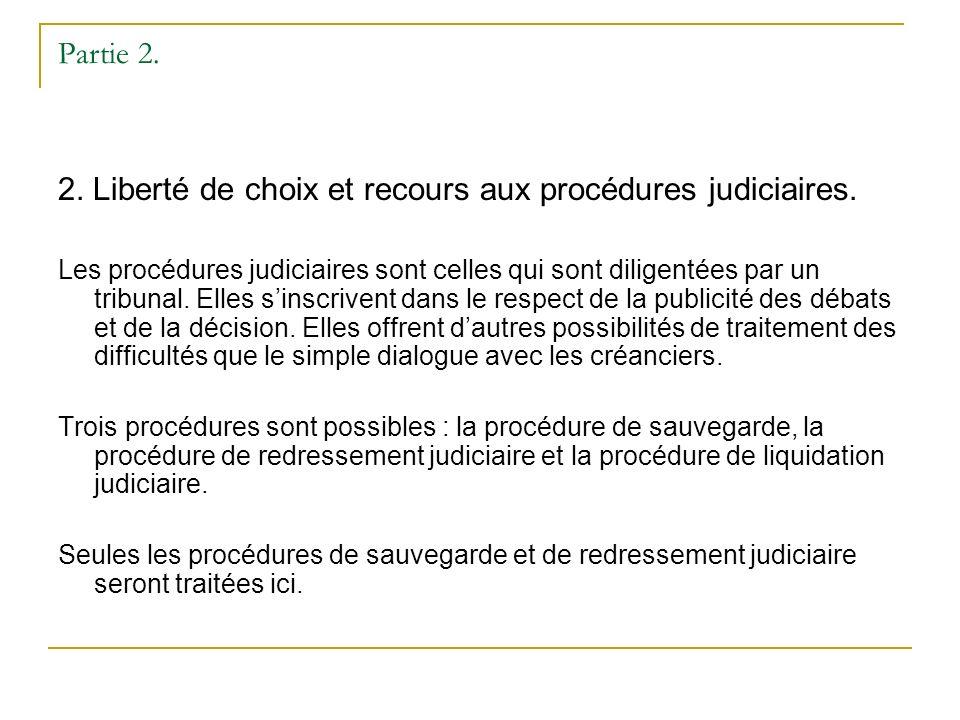 Partie 2. 2. Liberté de choix et recours aux procédures judiciaires.