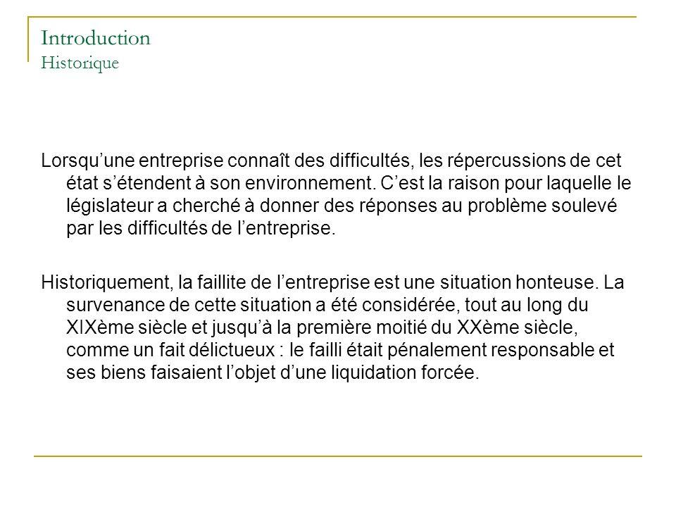 Introduction Historique Lorsquune entreprise connaît des difficultés, les répercussions de cet état sétendent à son environnement.